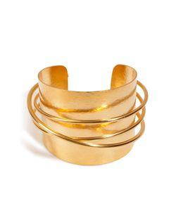 Hervé van der Straeten | Hammered Gold-Plated Epure Cuff Gr. One Size