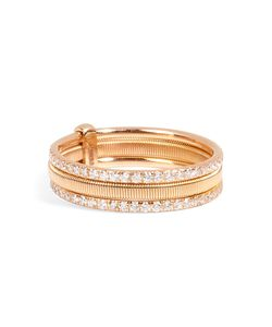 Ileana Makri | 18kt Pink Gold Triple Bond Band With White Diamonds Gr. One Size