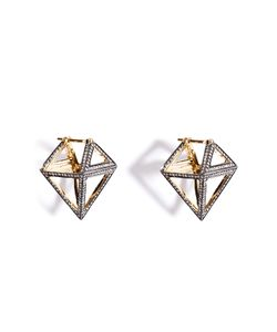 Noor Fares | 18k Gold Octahedron Earrings With White Diamonds Gr. One Size