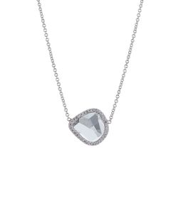 Susan Foster | 14k White Gold Diamond Slice Necklace With Pave Diamonds Gr. One Size