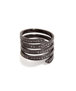 Lynn Ban   Black Rhodium Pavé Coil Ring Gr. 8