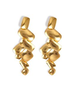 Hervé van der Straeten | Hammered Gold-Plated Yucata Earrings Gr. One Size