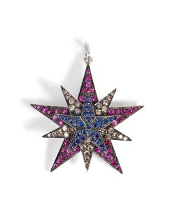 Ileana Makri | Silver/18k Gold Pendant With Rubies Diamonds Sapphires Gr. One Size