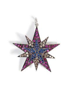 Ileana Makri | Silver/18k Gold Pendant With Rubies Diamonds Sapphires Gr. One Size
