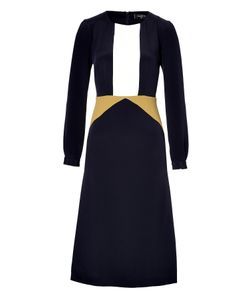 Giulietta | Silk Colorblock Dress In Navy/White/Mustard Gr. 34