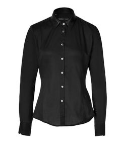 Clemens en August | Cotton Shirt With Leather Collar Gr. 34