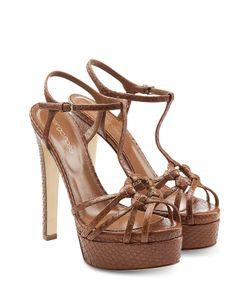 Sergio Rossi | Platform Sandals With Snakeskin Gr. 38