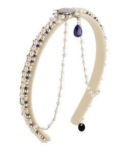 Master Piece | Leather Hair Band With Pearls Lapis Lazuli And Rudraksha Gr. One Size