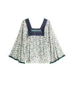 Anna Sui | Printed Blouse With Denim Gr. S