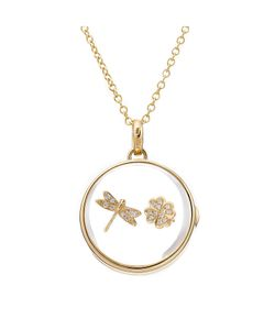 Loquet | 14-Karat Medium Round Locket With Diamond Charms Gr. One Size