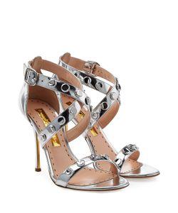 Rupert Sanderson | Metallic Leather Sandals Gr. 40