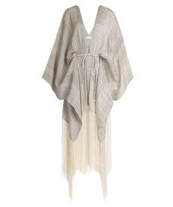 Hacienda Montaecristo | Rocio Fringed Kaftan With Leather Belt Gr. S