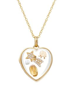Loquet | 14-Karat Medium Heart Locket With 18ct Diamonds/Gems Gr. One Size