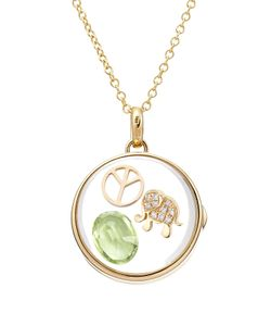 Loquet | 14-Karat Medium Round Locket With Diamonds/Peridot Gr. One Size