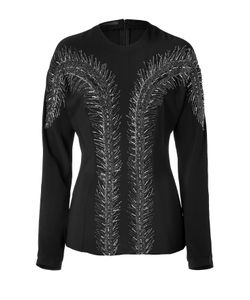 L\'Wren Scott | Black Silk Top With Feather Sequin Embroidery Gr. 36