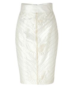 L\'Wren Scott | Cream Art Deco Embroidered Silk Pencil Skirt Gr. 34