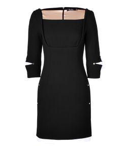Marios Schwab   Wool Crepe Short Dress With Straight Neckline In Black Gr. 34