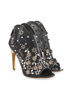 Rupert Sanderson | Embellished Mesh And Leather Peep Toe Heels Gr. 40