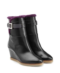 Fendi | Leather Ankle Boots With Shearling Lining Gr. 35