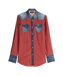 Dsquared2 | Printed Cotton Shirt With Denim Gr. 46