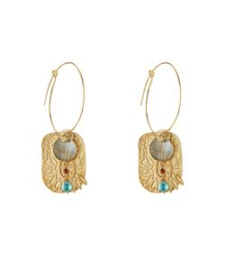 GAS BIJOUX | El Dorado 24k Plated Earrings With Glass Gr. One