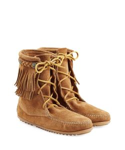 Minnetonka | Double Fringe Tramper Suede Boots With Studs Gr. Us 9