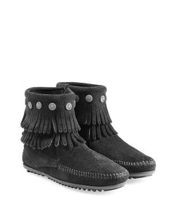 Minnetonka | Concho Fringed Suede Ankle Boots With Studs Gr. 7