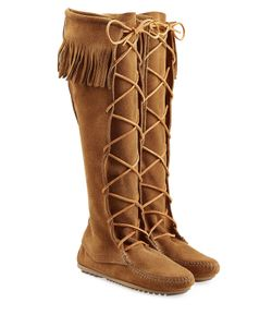 Minnetonka | Fringed Suede Knee Boots With Lace-Up Front Gr. Us 9