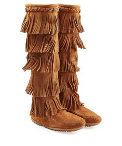 Minnetonka | Fringed Suede Knee Boots With Studs Gr. Us 9