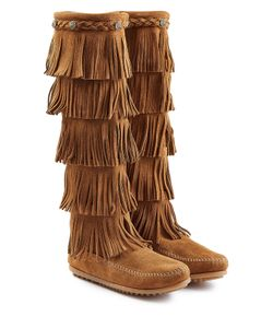 Minnetonka | Fringed Suede Knee Boots With Studs Gr. 9