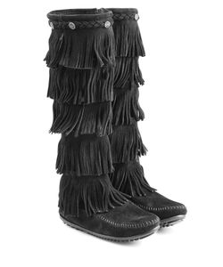 Minnetonka | Fringed Suede Knee Boots With Studs Gr. Us 8