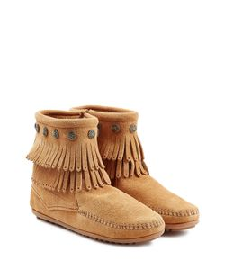 Minnetonka | Concho Fringed Suede Ankle Boots With Studs Gr. 8
