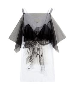 Maison Margiela | Printed Cotton Top With Tulle Gr. 38