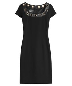 BOUTIQUE MOSCHINO | Cocktail Dress With Faux Leather Neckline Gr. 40