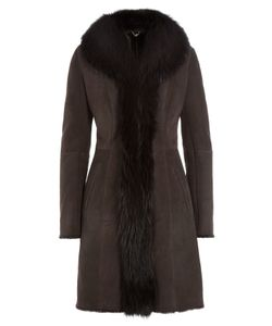 Sly010 | Suede Coat With Raccoon Fur Gr. 36