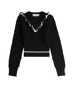 Preen By Thornton Bregazzi | Cropped Wool Pullover With Ruffles Gr. M