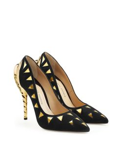 Paul Andrew | Suede Pumps With Metallic Gold Detail Gr. 37
