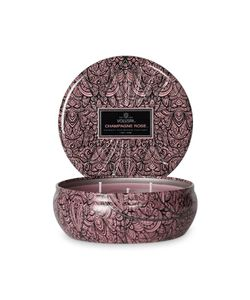 Voluspa | Triple Wick Champagne Rose Candle In Embossed Tin Gr. One Size