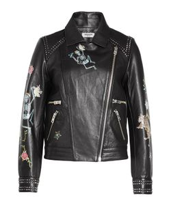 Zadig & Voltaire   Printed And Studded Leather Biker Jacket Gr. S