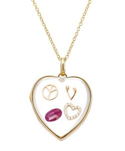 Loquet | 14kt Heart Locket With 18kt Gold Charms And Ruby Gr. One Size