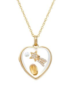 Loquet | 14kt Heart Locket With Citrine Pearl And Diamonds Gr. One Size