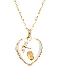 Loquet | 14kt Heart Locket With 18kt Charm Diamonds And Citrine Gr. One Size