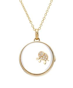 Loquet | 14kt Round Locket With 18kt Gold Charm And Diamonds Gr. One Size