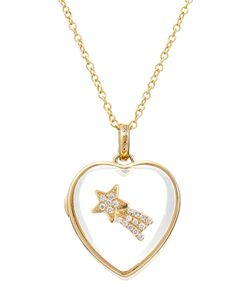 Loquet | 14kt Heart Locket With 18kt Gold Charm And Diamonds Gr. One Size