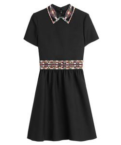 Valentino | Wool-Silk Dress With Embellished Collar Gr. 38