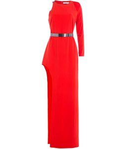 Halston Heritage | Asymmetric Floor Length Gown With Metallic Belt Gr. 6