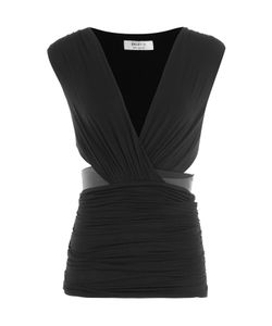Bailey 44 | Draped Jersey Top With Faux Leather Trim Gr. M