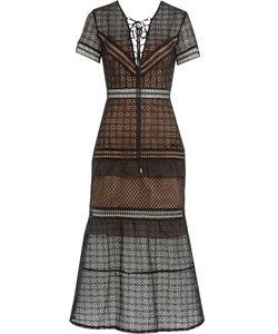 Self-Portrait | Lace-Up Peplum Midi Dress Gr. 8