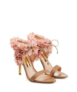 Rupert Sanderson | Petal Embellished Leather Sandals Gr. 36