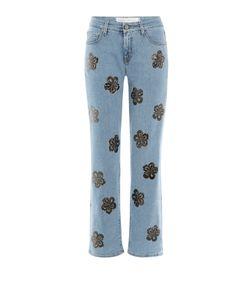 Victoria Beckham Denim | Floral Embellished Straight Leg Jeans Gr. 24